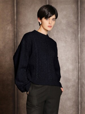 Cashmere round cable sweater_Navy