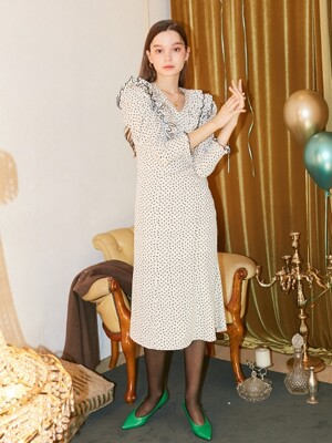 Ruffle Point Midi Dress_ Ivory