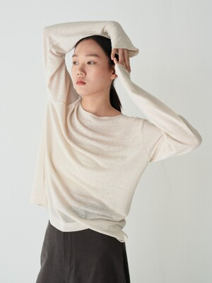 20SR LINEN BOAT-NECK T-SHIRTS (LIGHT BEIGE)