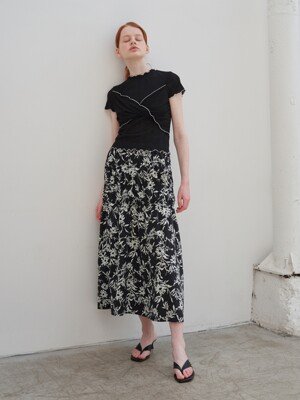 A1 SHIRRING FLORAL SKIRTS_BK