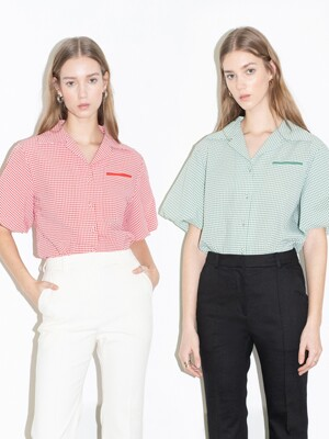 [20SS] ORANGE COUNTY notched collar balloon short sleeve blouse (4colors)