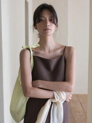LINEN SLEEVELESS TOP -BROWN