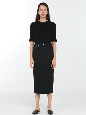 BACK SLIT WOOL PENCIL SKIRT BLACK_UDSK0F203BK