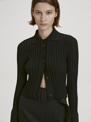 CROPPED RIBBED CARDIGAN (BLACK)
