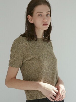Puff Short Sleeve Top (Olive Brown)
