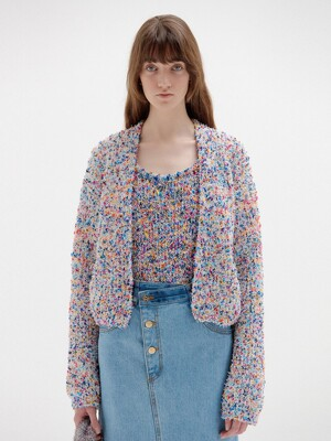 SKYLA Short Knitted Cardigan - Purple Multi