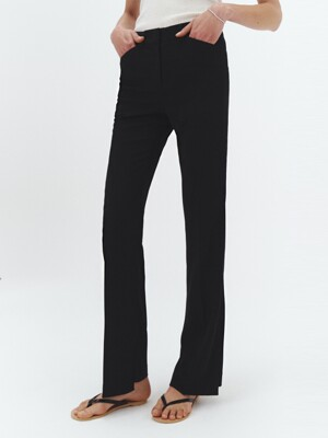 LIGHT ASYMMETRY SLIM BOOT-CUT TROUSERS BLACK_UDPA1E221BK
