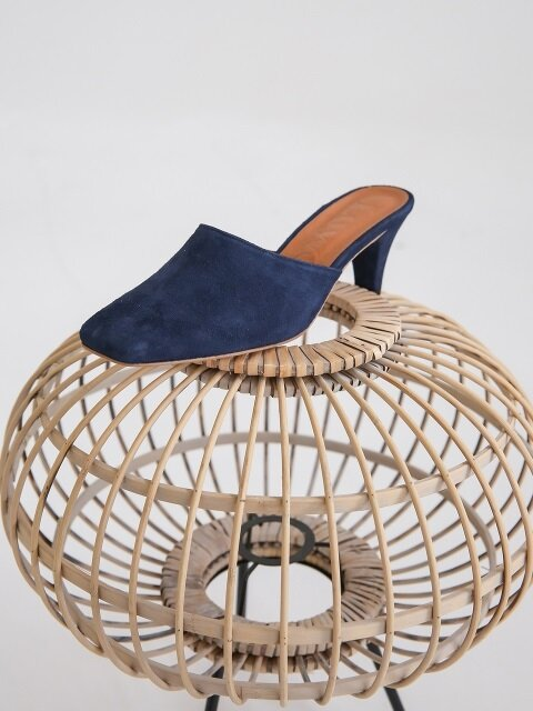 LW18SM-7-3 Square toe mule_Navy suede