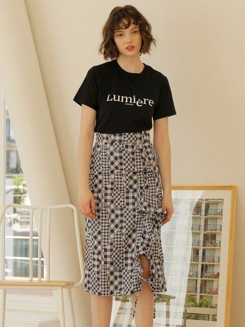 CHECK RUFFLE SLIT SKIRT_NAVY