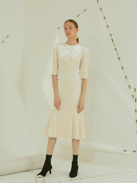 Claudel velvet dress _ Elegance ivory
