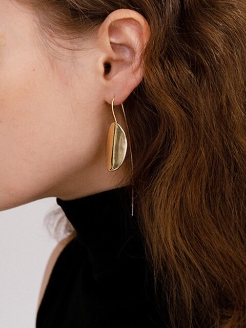 Oval seeds drop earring