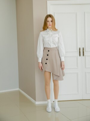 Ribbon Puff Blouse [WHITE]