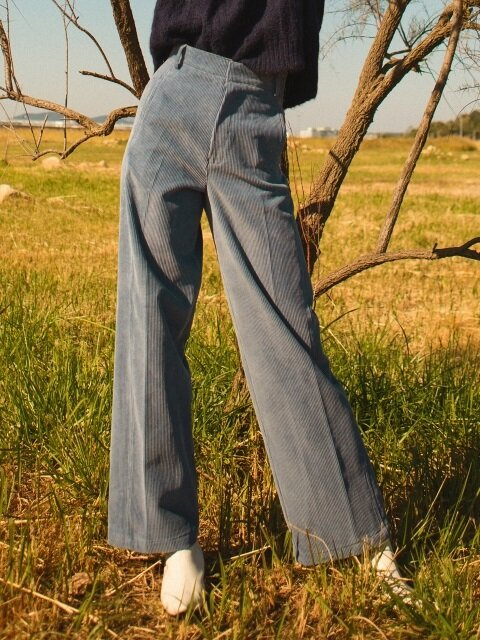 comos'63 corduroy wide pants (blue)