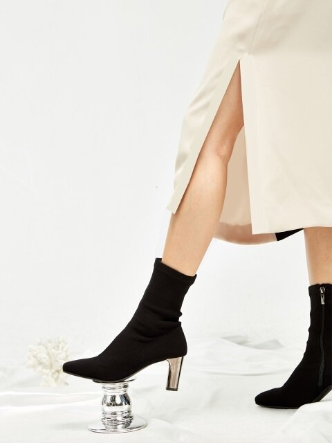 Span Socks Ankle Boots - MD18FW1022 Black