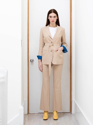 STOCKHOLM two button blazer (Royal beige & Cobalt blue)
