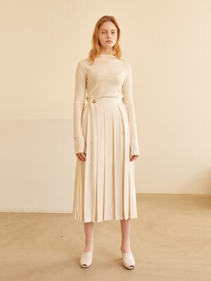 19SS PLEATED WRAP SKIRT IVORY