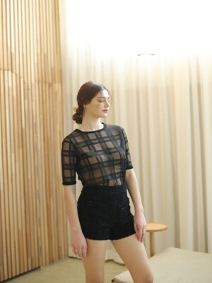CHECK SEE-THROUGH BLOUSE (BLACK)