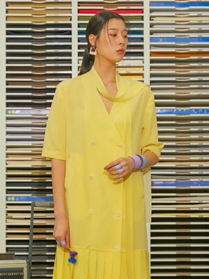 19SS V-NECK RIBBON DOUBLE DRESS_YELLOW