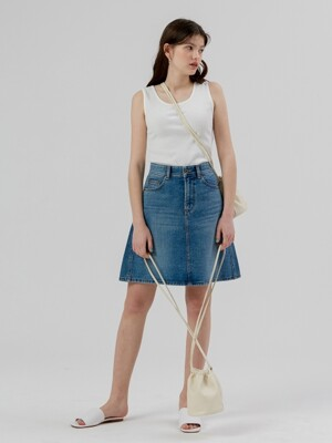 Line Denim Skirt [Blue]