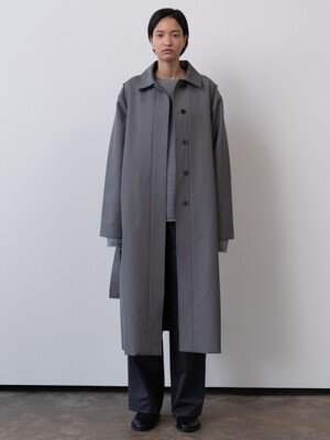 belted trench coat (gray)