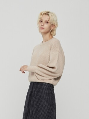 Puff Sleeve Knit Pullover Beige