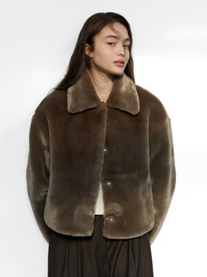 FUR CROP JACKET WOMEN [BROWN]