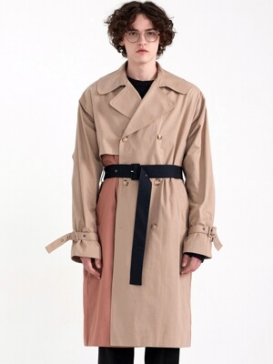 PREMIUM COLOR BLOCKING MILITARY TRENCH [OVER FIT] BEIGE