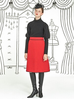 Dot Tweed Skirt