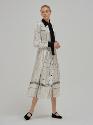 NOELLE EENK Printed Long Shirt Dress Ivory with separable bow tie