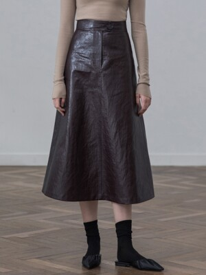 [19FW]A-line Faux Leather Skirt