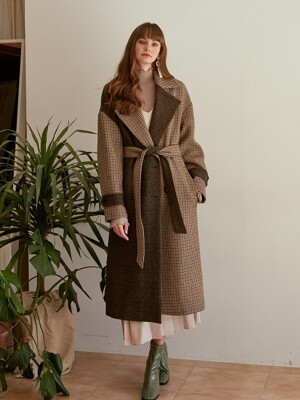 Check Mix Double Coat, Beige_Brown