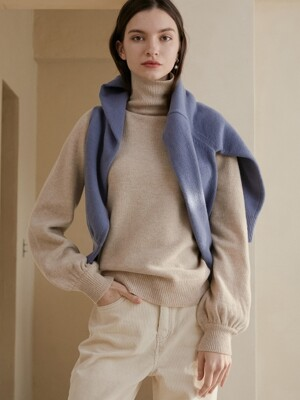 comos'285 cashmere puff turtleneck knit (oatmeal)