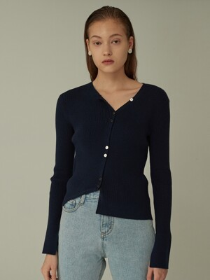 Asymmetry knit Cardigan - Navy
