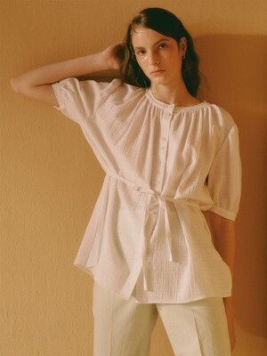 [Cotton Resort] Belted Shirring Blouse
