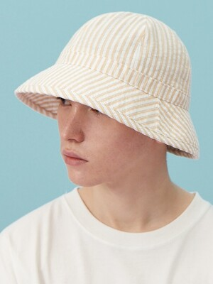 COTTON SEERSUCKER STRIPE BUCKET HAT