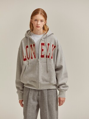 LONELY/LOVELY HOODIE ZIP-UP GRAY