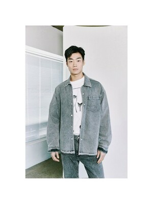 two tone denim over shirt_CWSAM21022BKX