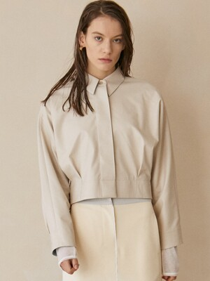 Nicky Eco-leather Cropped Shirt_Cream
