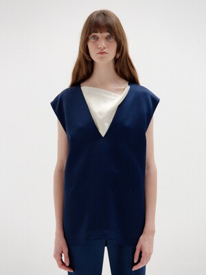 SIMONE Sleeveless Top - Navy