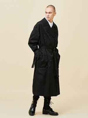 Overfit trench coat_Black