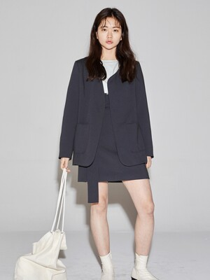 linen blended unbalance jacket _ charcoal