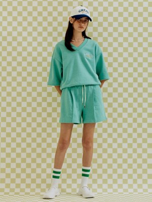 MELANGE MINT SHORT PANTS LIGHT GREEN (AEPA1E012E1)