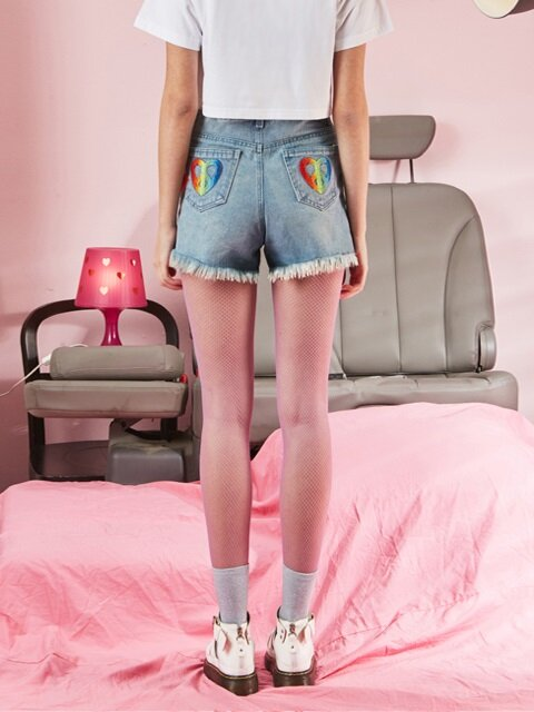 VVV RAINBOW HEART BLUE DENIM SHORTS