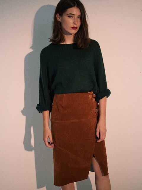Via Wrapped Velvet Skirt