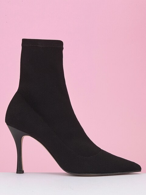 BLACK SMOOTHIE KNIT ANKLE BOOT