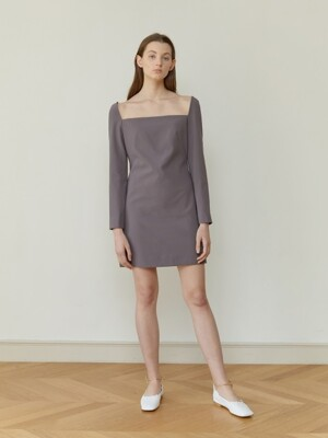 18FW SQUARE NECK MINI DRESS (GRAY)