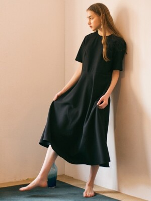 Long Flared Dress - Black