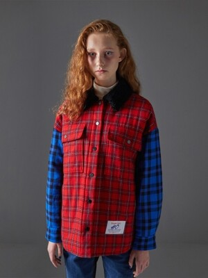 Check Mixed Quilting Jacket_Red
