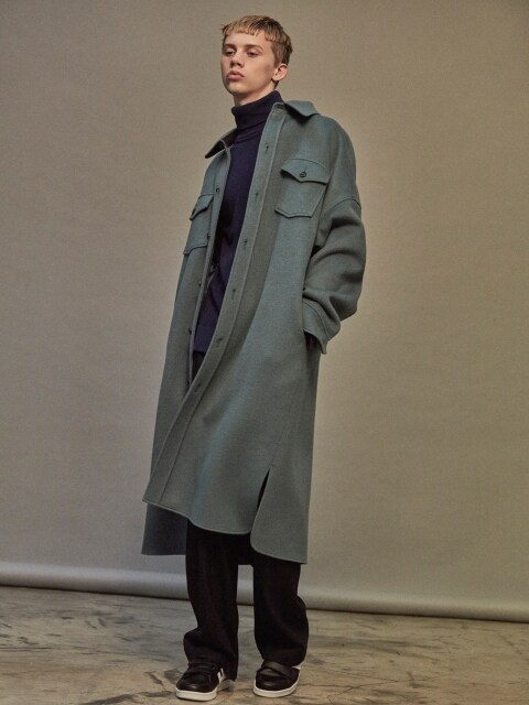 OVERSIZED WOOL SHIRT-COAT SKY BLUE