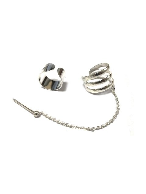 75 Shark Layered Silver Earring